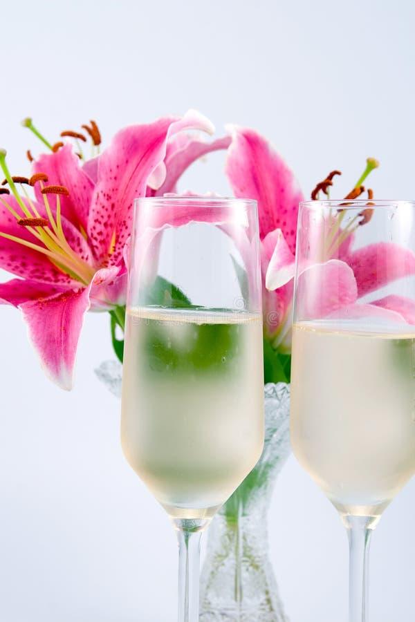 Twee glazen champagne royalty-vrije stock afbeelding
