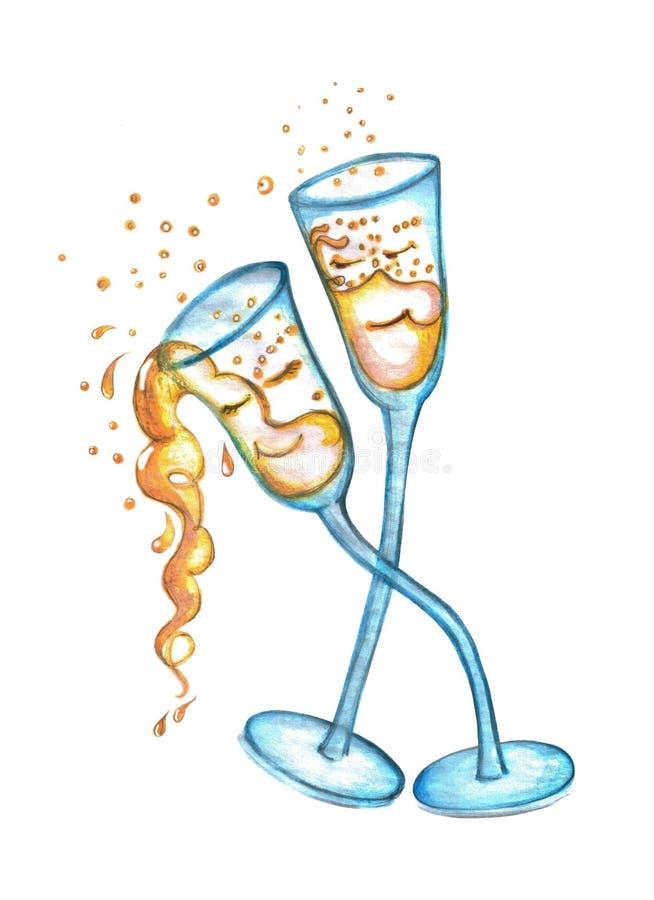 Twee glazen champagne dansen in een paar Gemaakte hand - vector illustratie