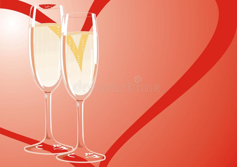 Twee glazen champagne op een vriendschappelijke vergadering van royalty-vrije stock foto's