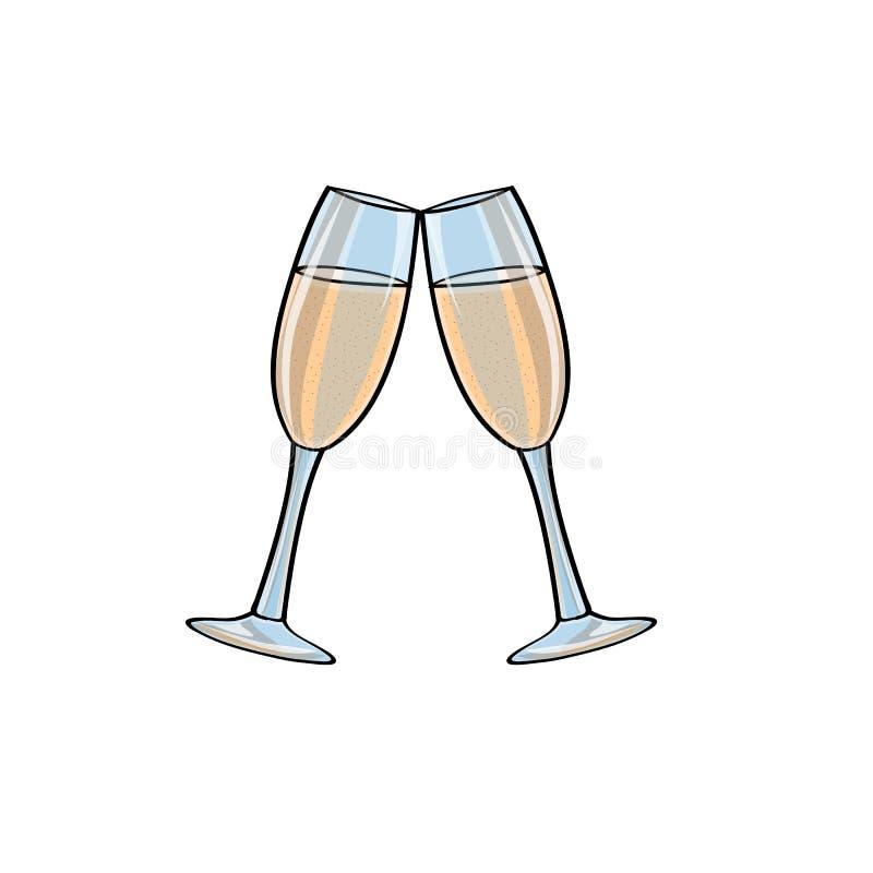 Twee glazen champagne, vector royalty-vrije illustratie