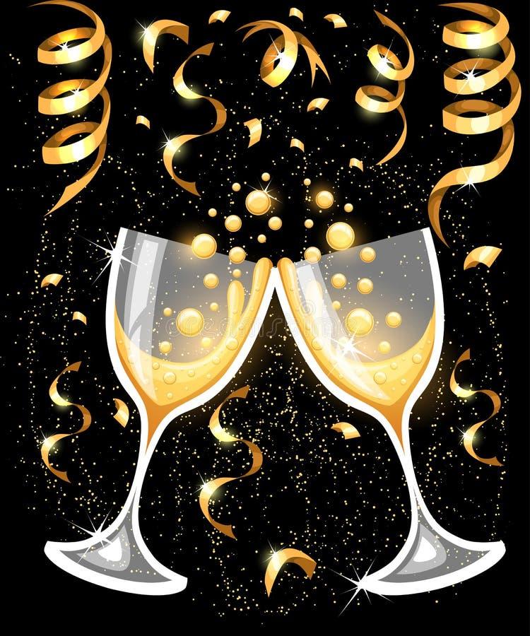 Twee glazen champagne Vrolijke Kerstmis en gelukkig Nieuwjaarconcept De vectorpagina van de illustratiewebsite en mobiel app ontw stock illustratie