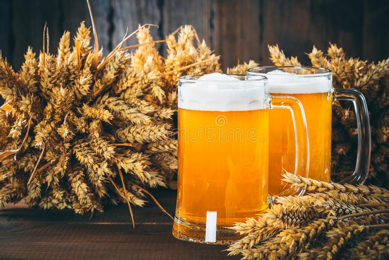 Twee glazen licht bier stock foto's