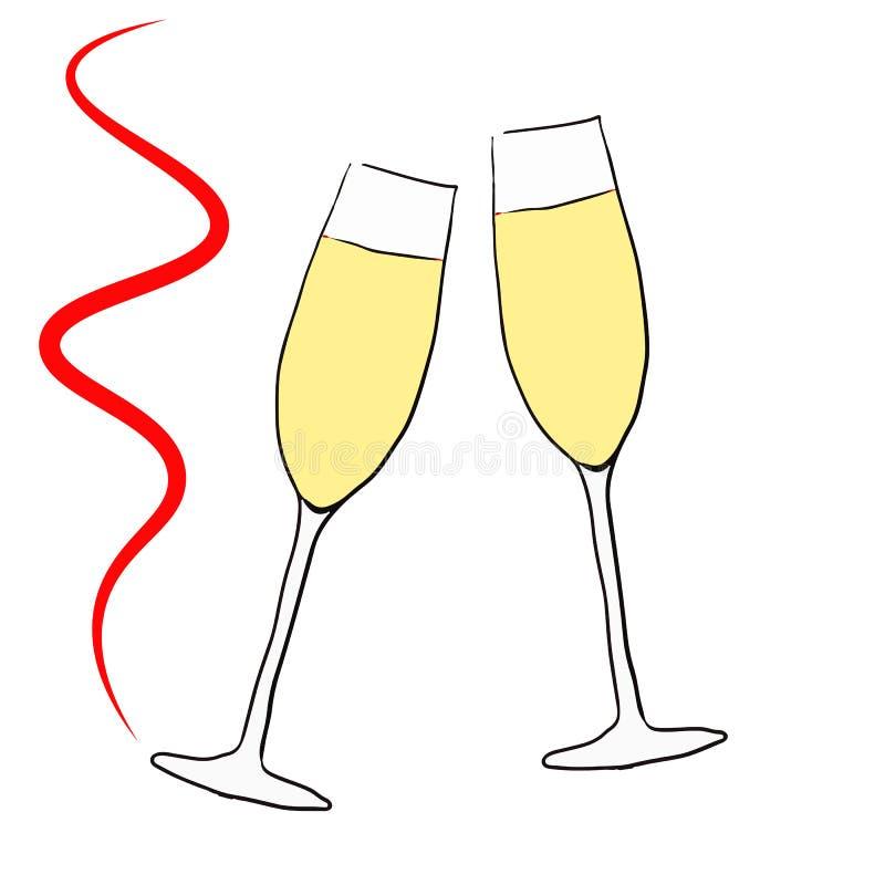 Twee glazen met rode champagne, royalty-vrije illustratie