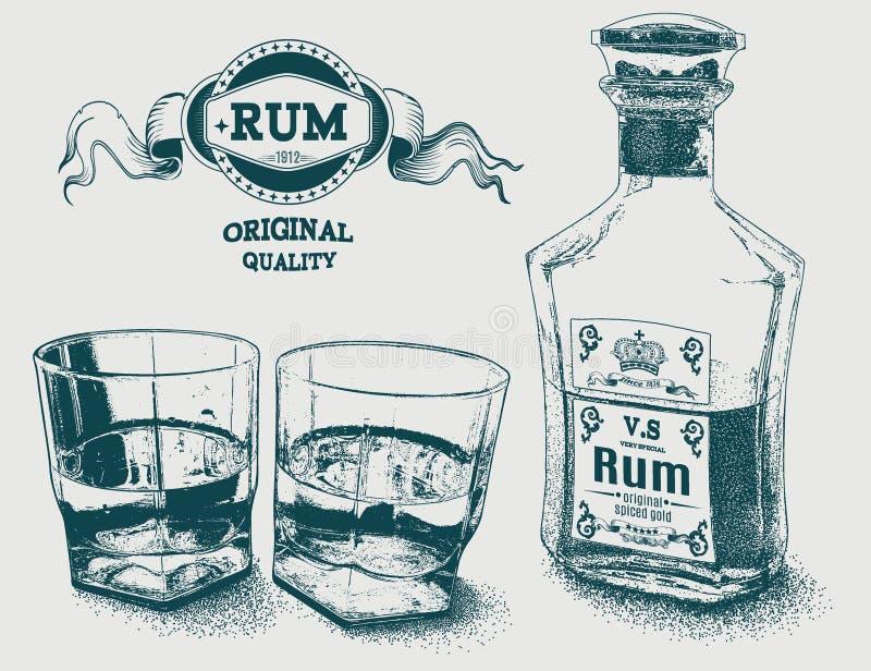 Twee glazen van alcohol, fles en rum logotype royalty-vrije illustratie