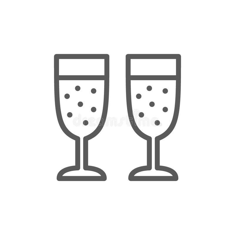 Twee glazen van het pictogram van de champagnelijn royalty-vrije illustratie
