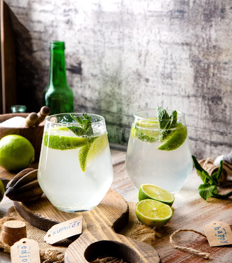 Twee glazen van koude ijzige mojito van de de zomercocktail met muntbladeren en plakken van kalk royalty-vrije stock afbeelding
