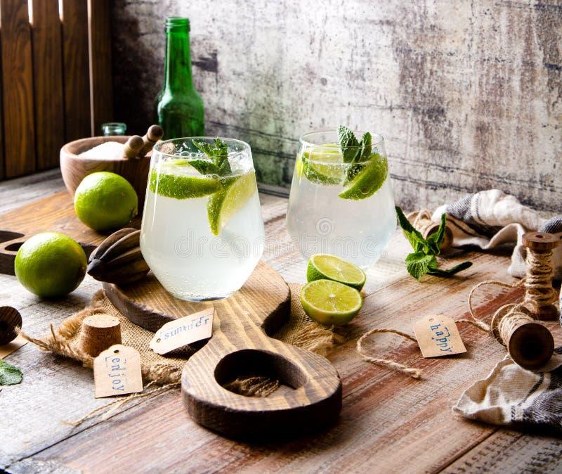 Twee glazen van koude ijzige mojito van de de zomercocktail met muntbladeren en plakken van kalk royalty-vrije stock foto's