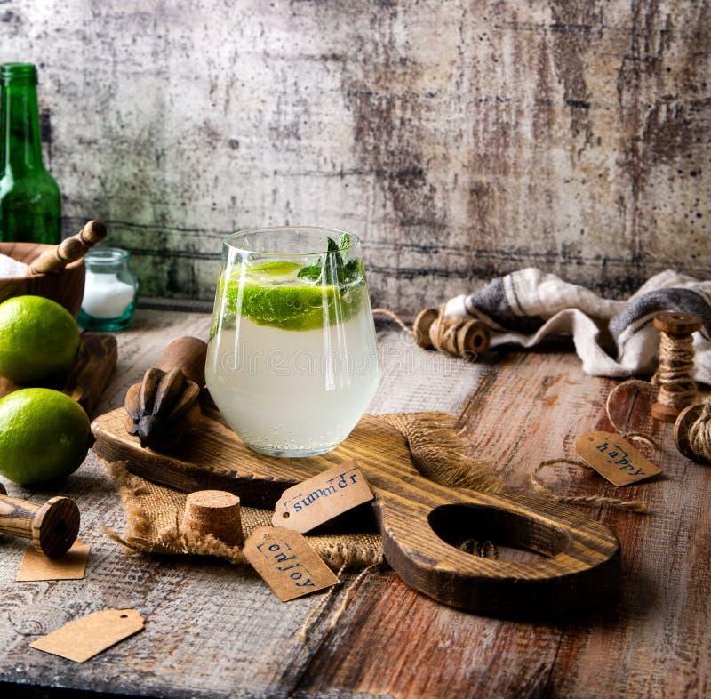 Twee glazen van koude ijzige mojito van de de zomercocktail met muntbladeren en plakken van kalk royalty-vrije stock fotografie