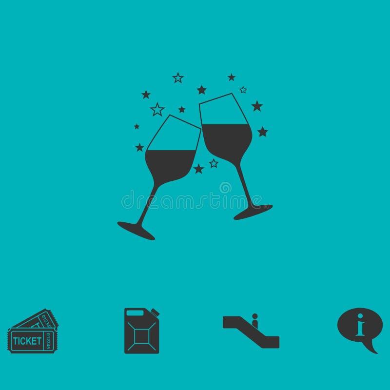 Twee glazen van vlakke champagnepictogram vector illustratie