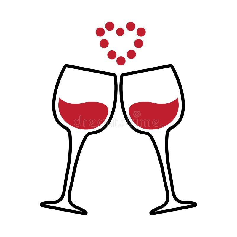 Twee glazen van wijn en een rood hart van punten Vector royalty-vrije illustratie