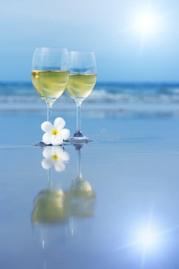 Twee glazen witte wijn royalty-vrije stock foto's