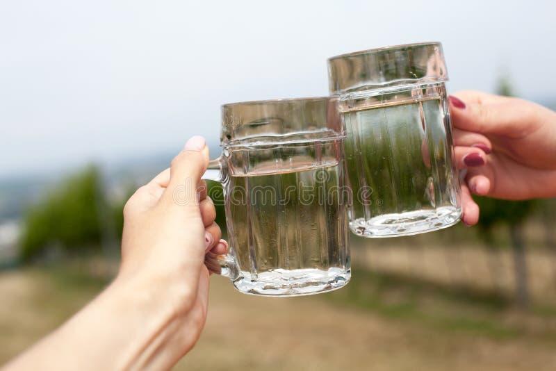 Twee glazen witte wijn en soda spritzer Gerinkelglazen door vrouwelijke handen op achtergronden van druivenbladeren in Heuriger-h royalty-vrije stock afbeeldingen