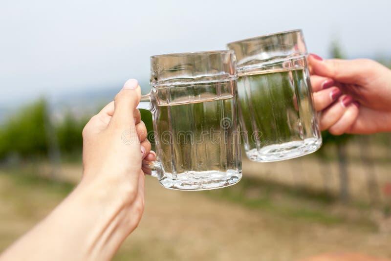 Twee glazen witte wijn en soda spritzer Gerinkelglazen door vrouwelijke handen op achtergronden van druivenbladeren in Heuriger-h royalty-vrije stock foto's