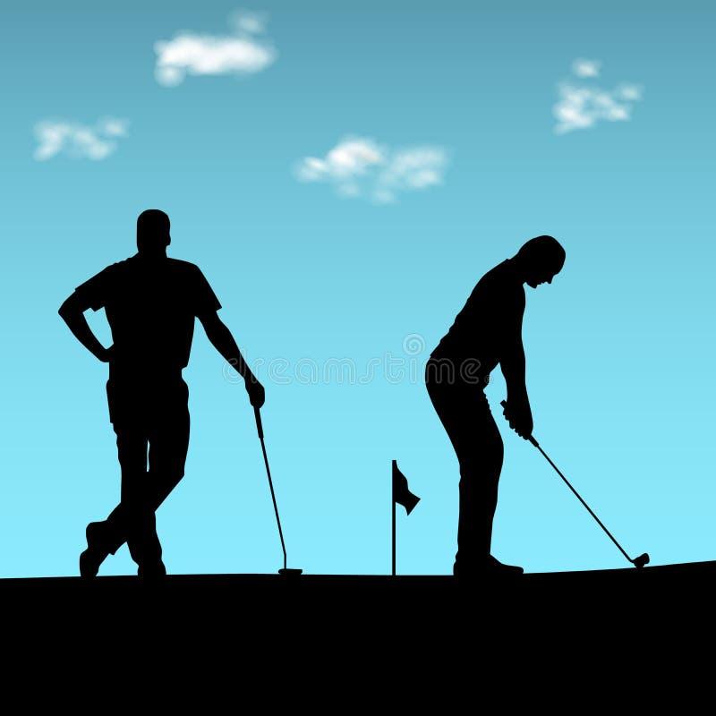 Twee golfspelers silhouetteren het spelen op de speelplaats royalty-vrije illustratie
