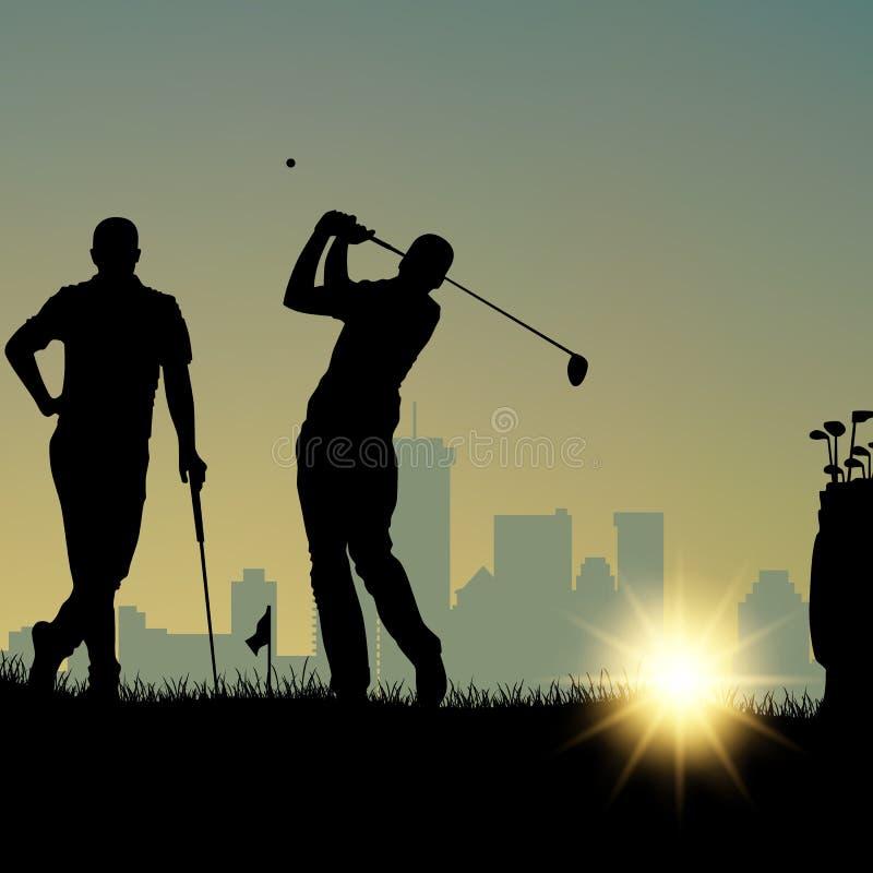 Twee golfspelers silhouetteren het spelen op de speelplaats en in stad stock illustratie