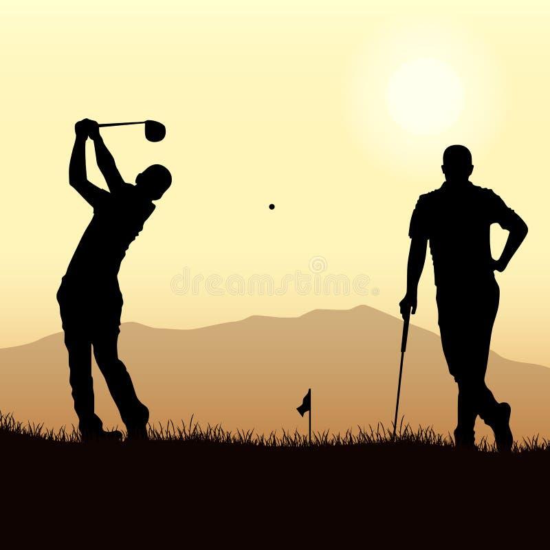 Twee golfspelers silhouetteren het spelen op het speelplaatsmalplaatje vector illustratie