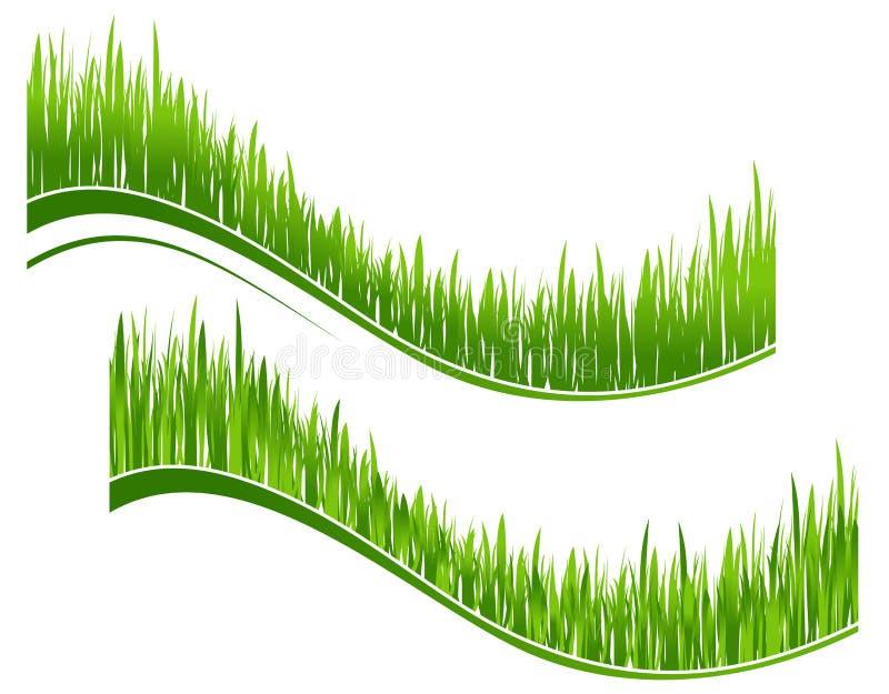 Twee golven van groen gras vector illustratie