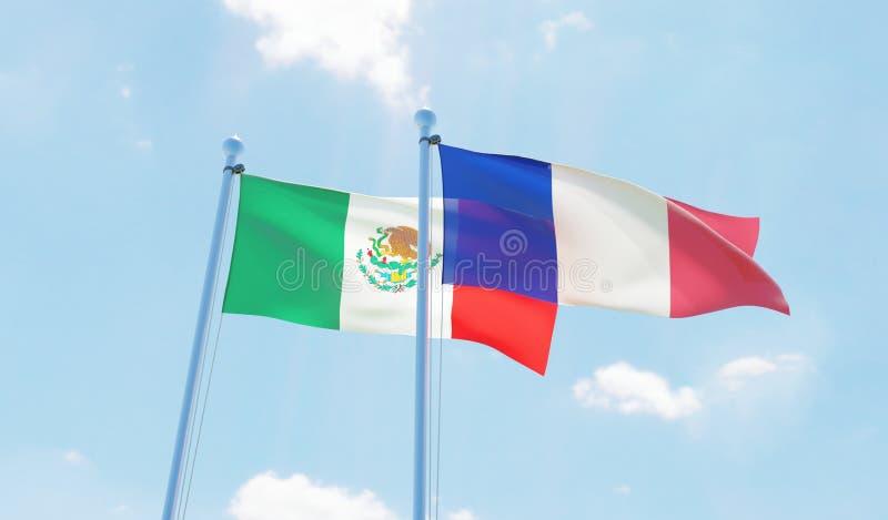 Twee golvende vlaggen royalty-vrije illustratie