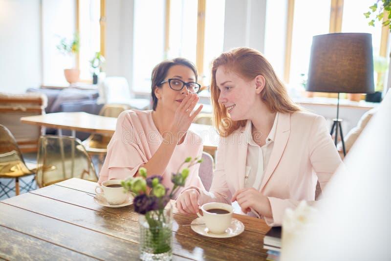 Twee Gossipers die Koffiepauze hebben stock foto's