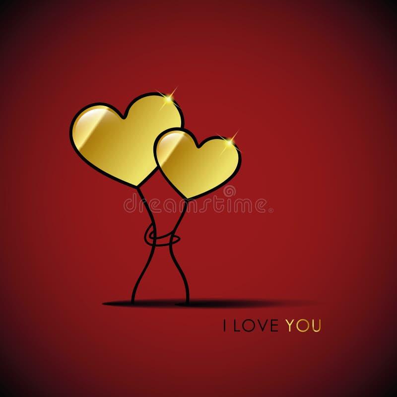 Twee gouden harten i houden van u vector illustratie
