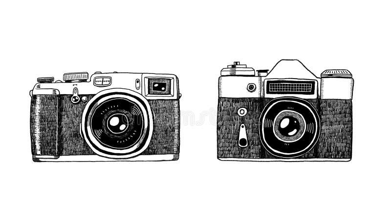 Twee grafische uitstekende filmcamera's op witte achtergrond vector illustratie