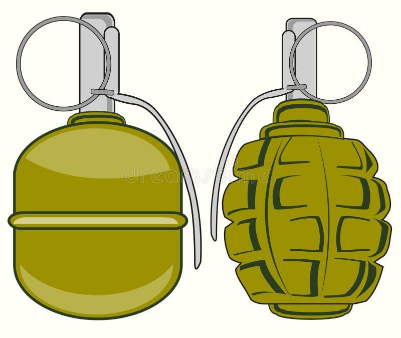 Twee granaten op wit royalty-vrije illustratie