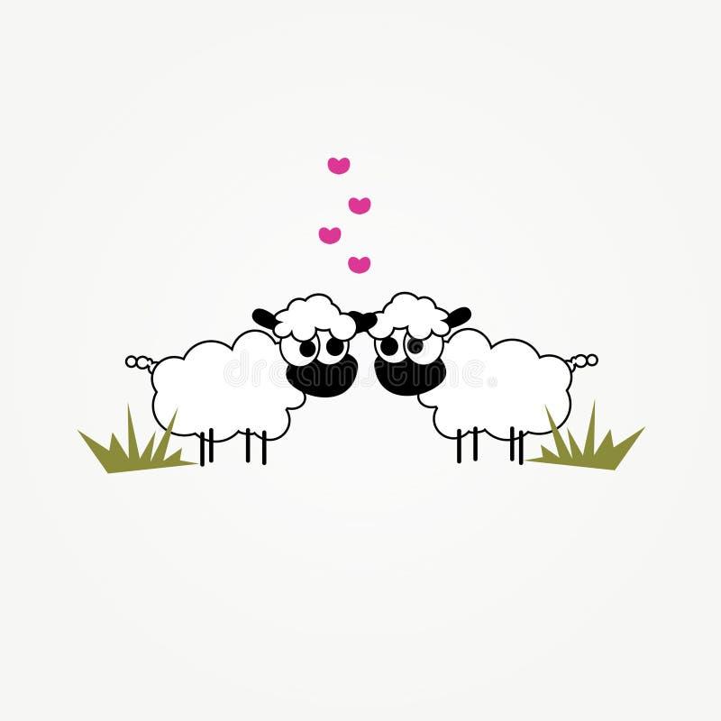 Twee grappige beeldverhaalschapen in liefde stock illustratie