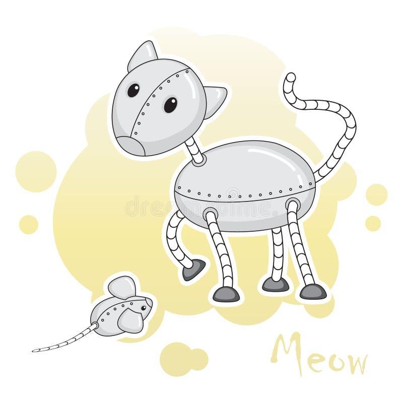 Twee grappige dierlijk-robots, kat en muis stock illustratie