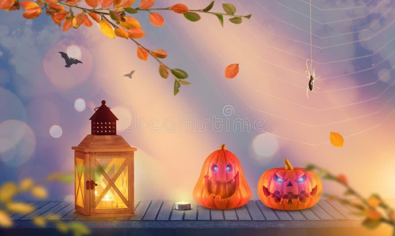 Twee grappige griezelige Halloween-pompoenen met spin en knuppels op de achtergrond royalty-vrije stock afbeelding