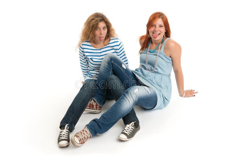 Twee grappige jonge meisjes royalty-vrije stock foto