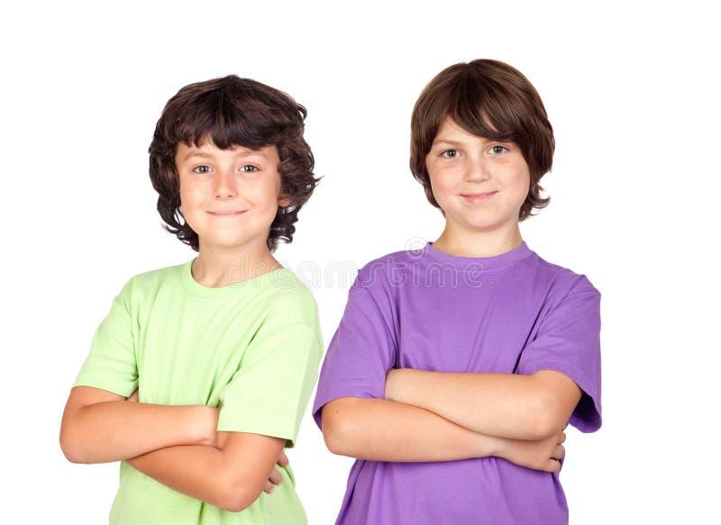 Twee grappige kinderen royalty-vrije stock fotografie