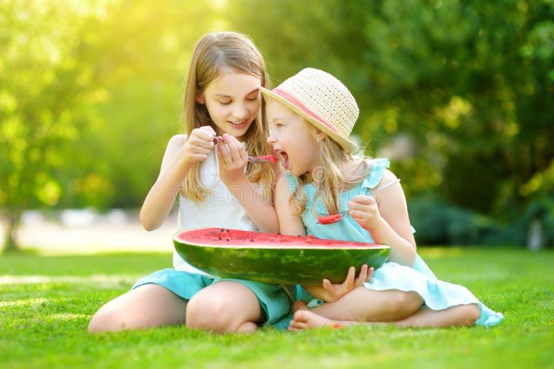 Twee grappige kleine zusters die watermeloen met de lepels in openlucht op warme en zonnige de zomerdag eten Gezonde natuurvoedin stock foto's