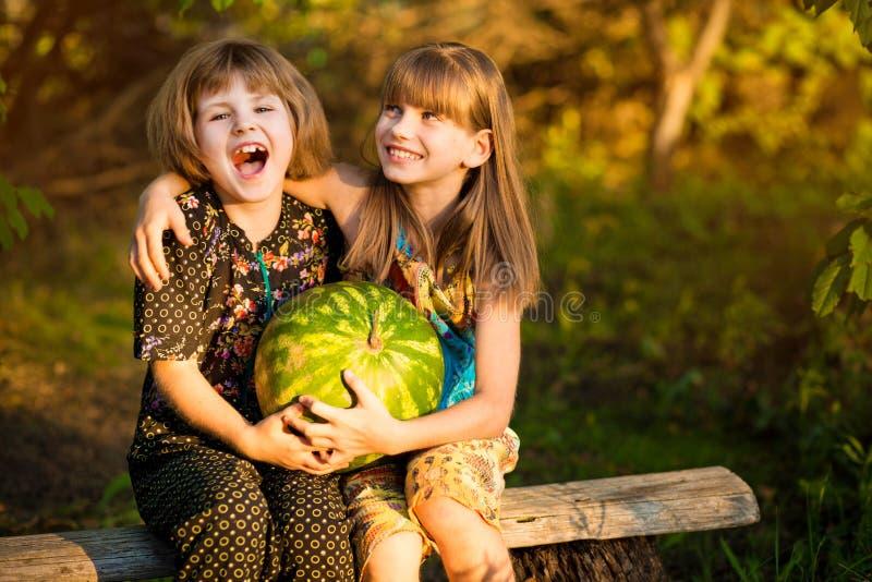 Twee grappige kleine zusters die watermeloen in openlucht op warme en zonnige de zomerdag eten Gezonde natuurvoeding royalty-vrije stock fotografie