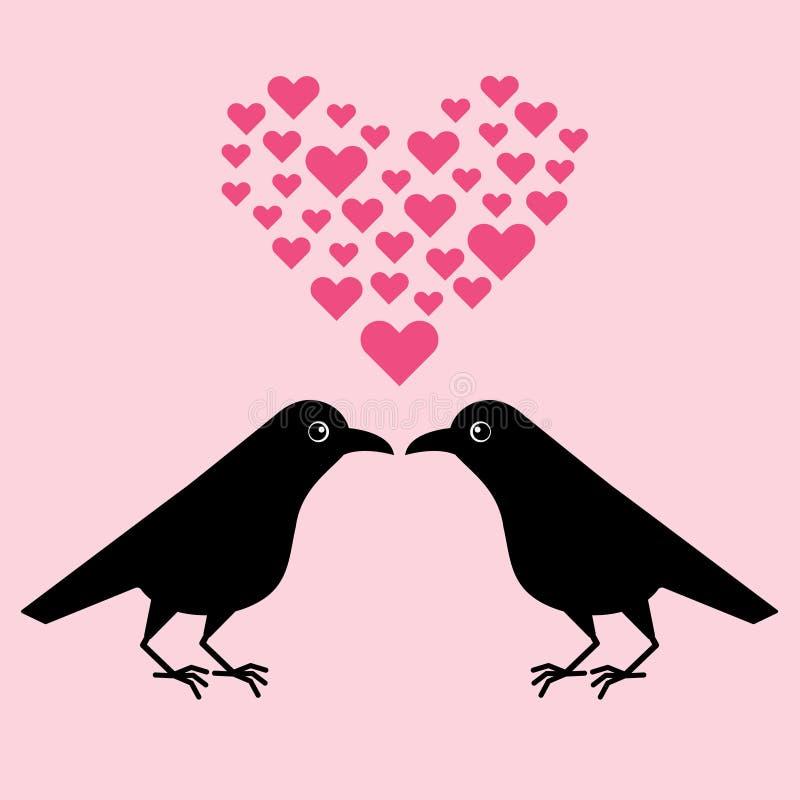 Twee grappige kraaien, een heer verleidt een dame, beeldverhaal Valentine Leuke raafillustratie vector illustratie