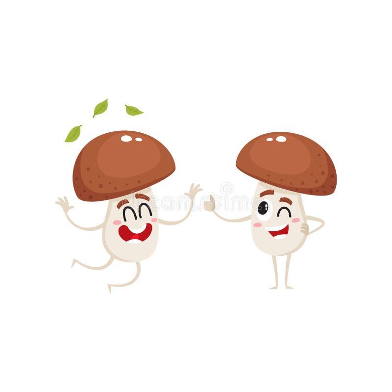 Twee grappige porcinikarakters, die van geluk springen, die duim tonen stock illustratie