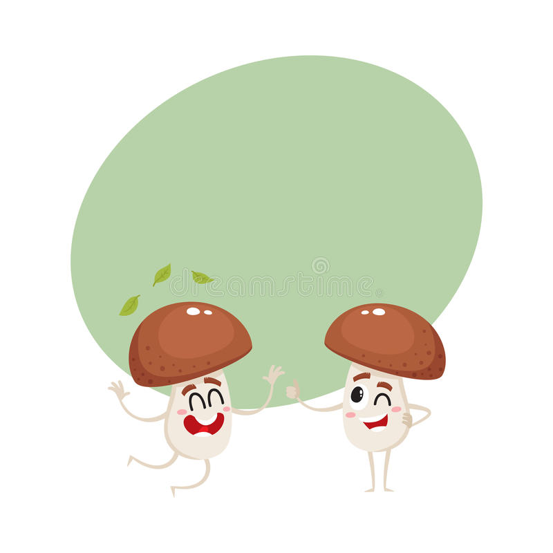 Twee grappige porcinikarakters, die van geluk springen, die duim tonen vector illustratie