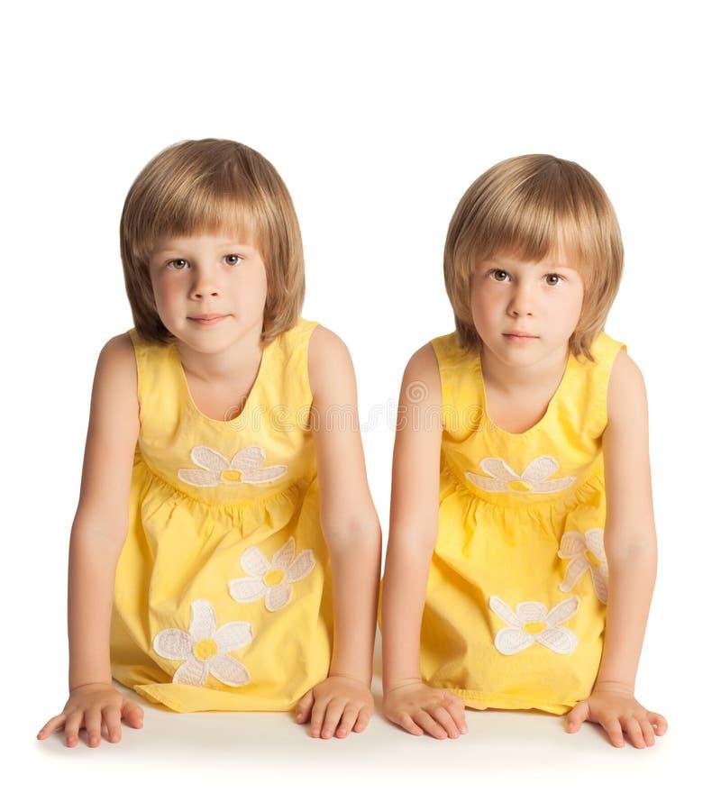 Twee grappige zusters stock foto