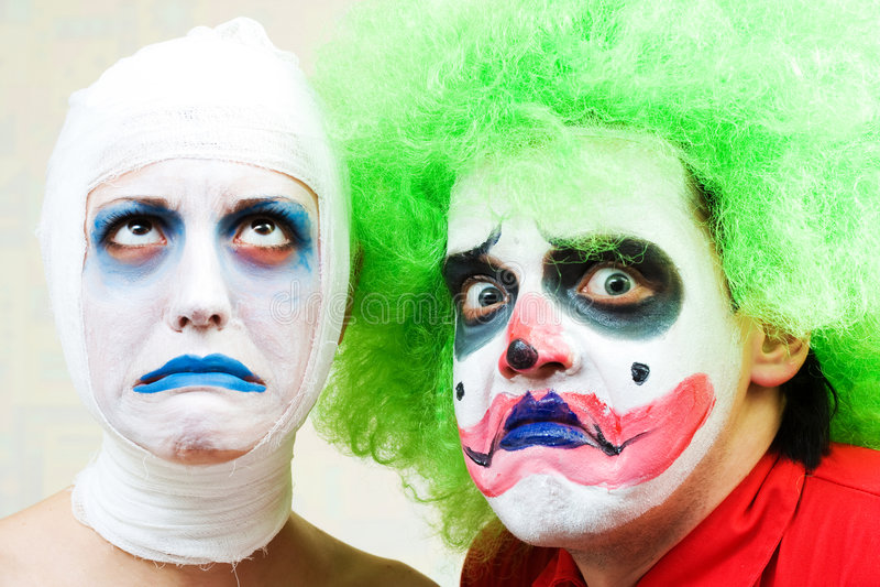 Twee griezelige clowns royalty-vrije stock foto