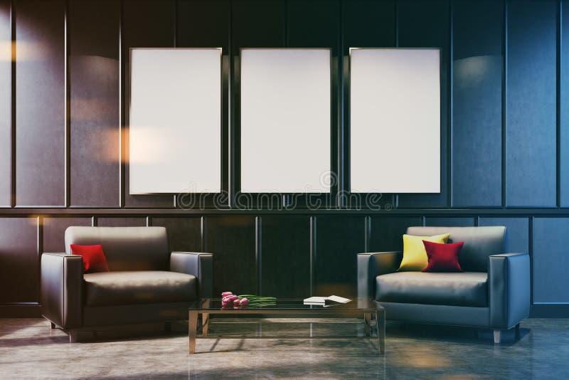 Twee grijze leunstoelen in een grijze gestemde woonkamer royalty-vrije stock afbeelding