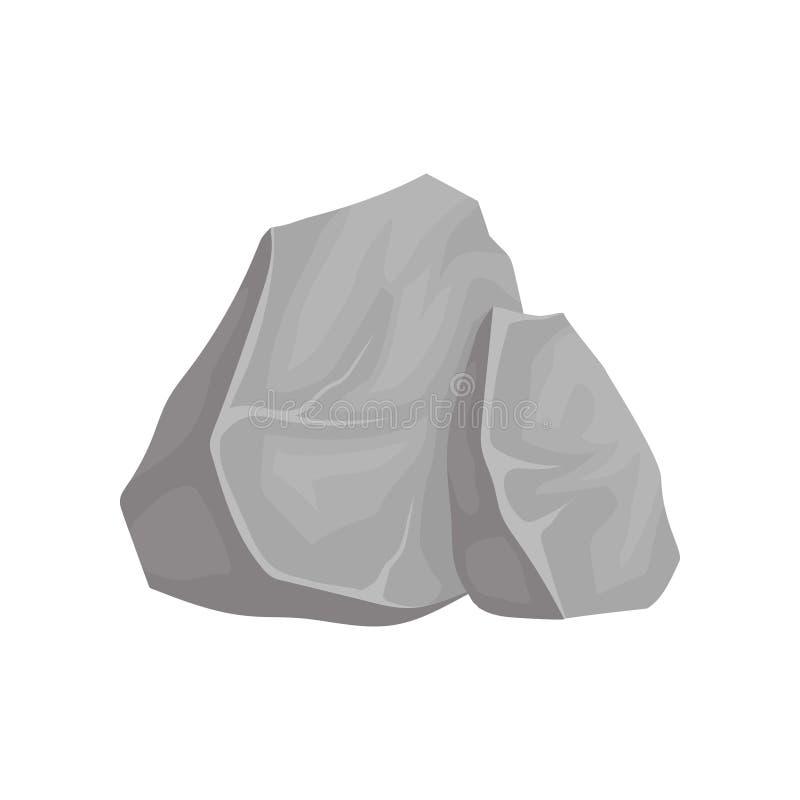 Twee grijze stenen Vector illustratie op witte achtergrond royalty-vrije illustratie