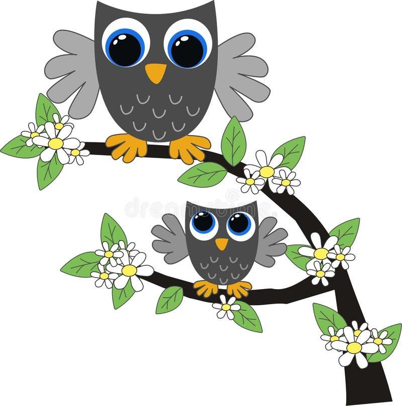 Twee grijze uilen vector illustratie