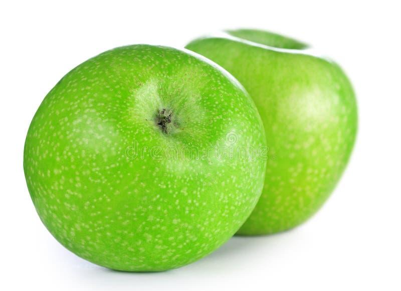 Twee groene appelen royalty-vrije stock afbeelding