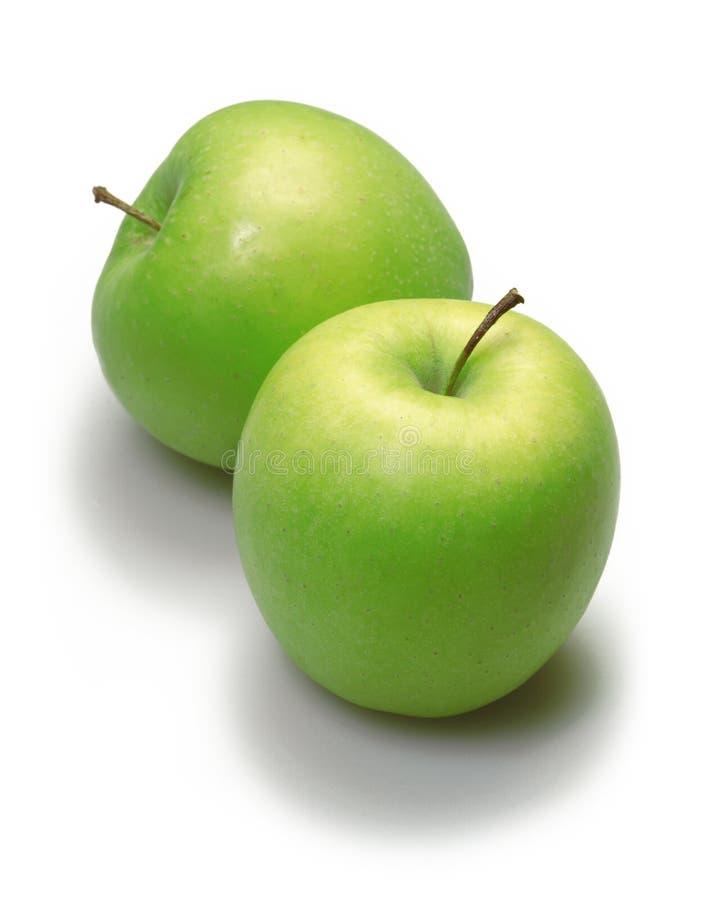 Twee groene appelen royalty-vrije stock foto