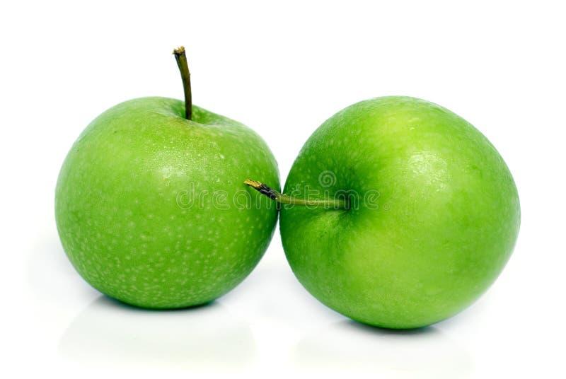 Twee groene appelen royalty-vrije stock fotografie