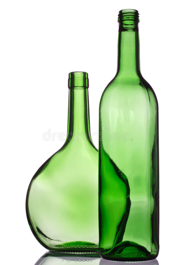 Twee groene flessen royalty-vrije stock foto's