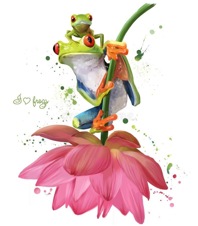 Twee groene kikkers die op een tekening van de bloemwaterverf zitten stock illustratie
