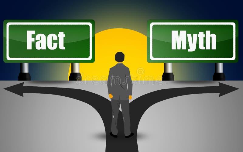 Twee groene richtingsteken, feit en mythe royalty-vrije illustratie