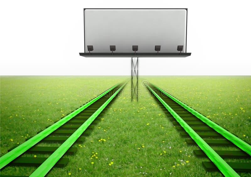 Twee groene spoorwegen met leeg aanplakbord stock illustratie