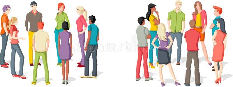 Download Twee Groepen Mensen Het Samenkomen Vector Illustratie - Illustratie bestaande uit beeldverhaal, bedrijf: 54085369
