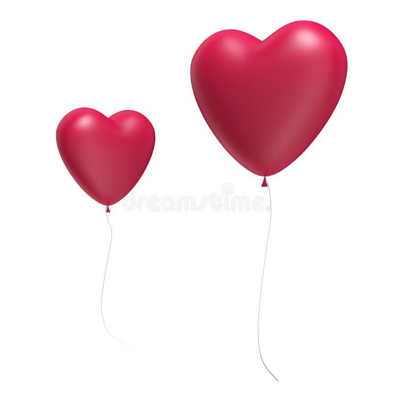 Twee Grote Rode die Hartballons op wit worden geïsoleerd royalty-vrije illustratie
